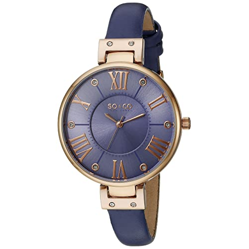 SO&CO New York Womens 5091.6 SoHo Rose-Tone Watch with Lavender Leather Band