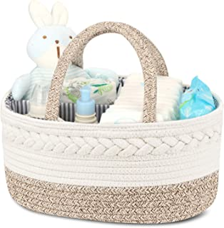 Diaper Caddy Organizer for Baby - 100% Cotton Rope Baby Basket Changing Table Diaper Storage Caddy, Maliton Portable Diape...