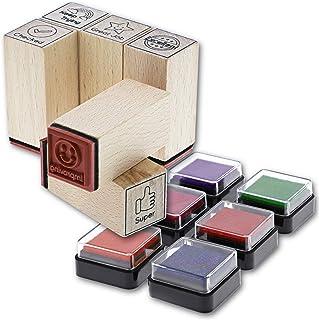 6 طوابع للمعلمين المطاطية المثبتة بالخشب مع 6 وسادات حبر