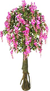AMERIQUE Gorgeous & Unique 6 Feet Artificial Silk Purple Wisteria Tree with Flowers, UV Protection, Feel Real Technology, Standable, 1680 Leaves 72