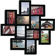 Adeco Decorative Black Wood Wall Hanging Collage Puzzle Picture Photo Frame, 12 Openings, 4x6 inches