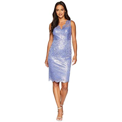 Adrianna Papell Petite Sleeveless Scallop V-Neck Lace Cocktail Dress (Pale Violet) Women