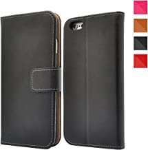 FinestBazaar Apple iPhone Leather Case, Leather Wallet Case + [Kickstand] [Card Slots] [Magnetic Closure] Flip Notebook Cover Case for + Screen Protector iPhone 4 / 4s Black