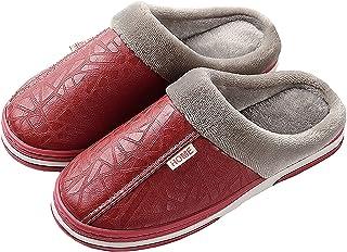 CELANDA Slippers Women's Men's Plush Winter Slippers Women Memory Foam House Mule Slippers Non-Slip Sole Slippers Red Siz...