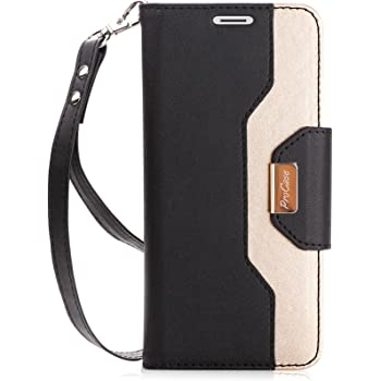 ProCase Galaxy S9 Wallet Case, Flip Kickstand Case with Card Holders Mirror Wristlet, Folding Stand Protective Book Case Cover for 5.8 Inch Galaxy S9 (2018 Release) -Black