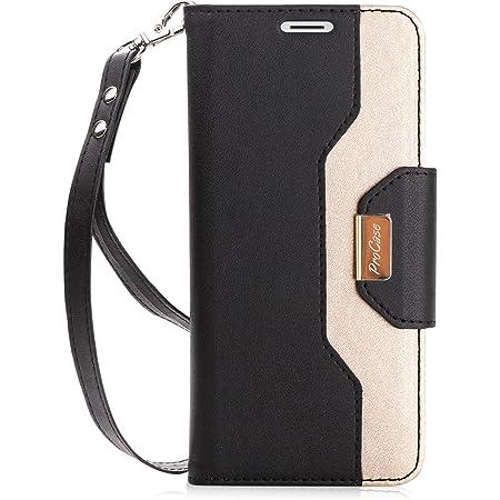 Procase Funda Cartera para Galaxy S9, Carcasa Flip con Ranura de Tarjetas/Espejo/Correa de Mano/Soporte, Estuche Billetera Plegable Protectora para 5.8 Pulgadas Samsung Galaxy S9 SM-G960F -Negro