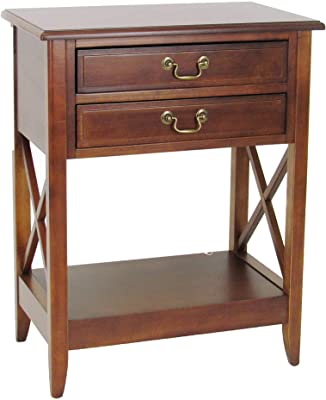 Benjara Wooden Nightstand with 2 Drawers and Criss Cross Sides, Brown