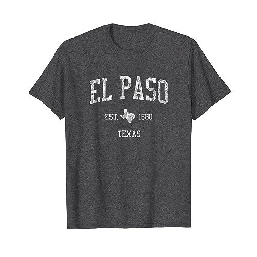 El Paso Texas TX T-Shirt Vintage Sports Design Retro Tee