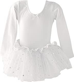 Girls Skirted Leotard Sparkle Long Sleeve Tutu Ballet Dress Front Lined