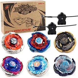 Gyros 6 Pieces Pack, Battling Tops Metal Fusion Starter Set with Stickers Two Launchers Gift Idea Toys for Boys Kids Child...