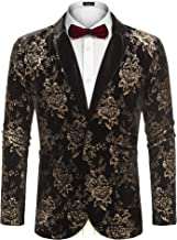 COOFANDY Mens Shiny Luxury Casual Floral Party Blazer Jacket 2 Button Velvet Blazer Coat
