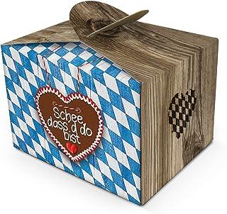 25 kleine SCHÖN DASS DU DA BIST blau weiß kariert bayerische Mini-Geschenkschachtel Geschenkkarton 8 x 6,5 x 5,5 cm Verpackung Kunden Hochzeits-deko Geburtstag Gastgeschenk give-away