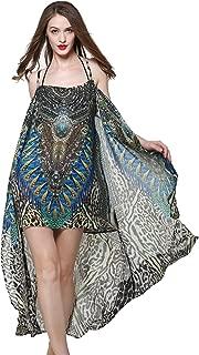 MYPASSA Women Plus Size Sexy Leopard Printing Braces Skirt Irregular Cover Up Caftan Dress Swimwear