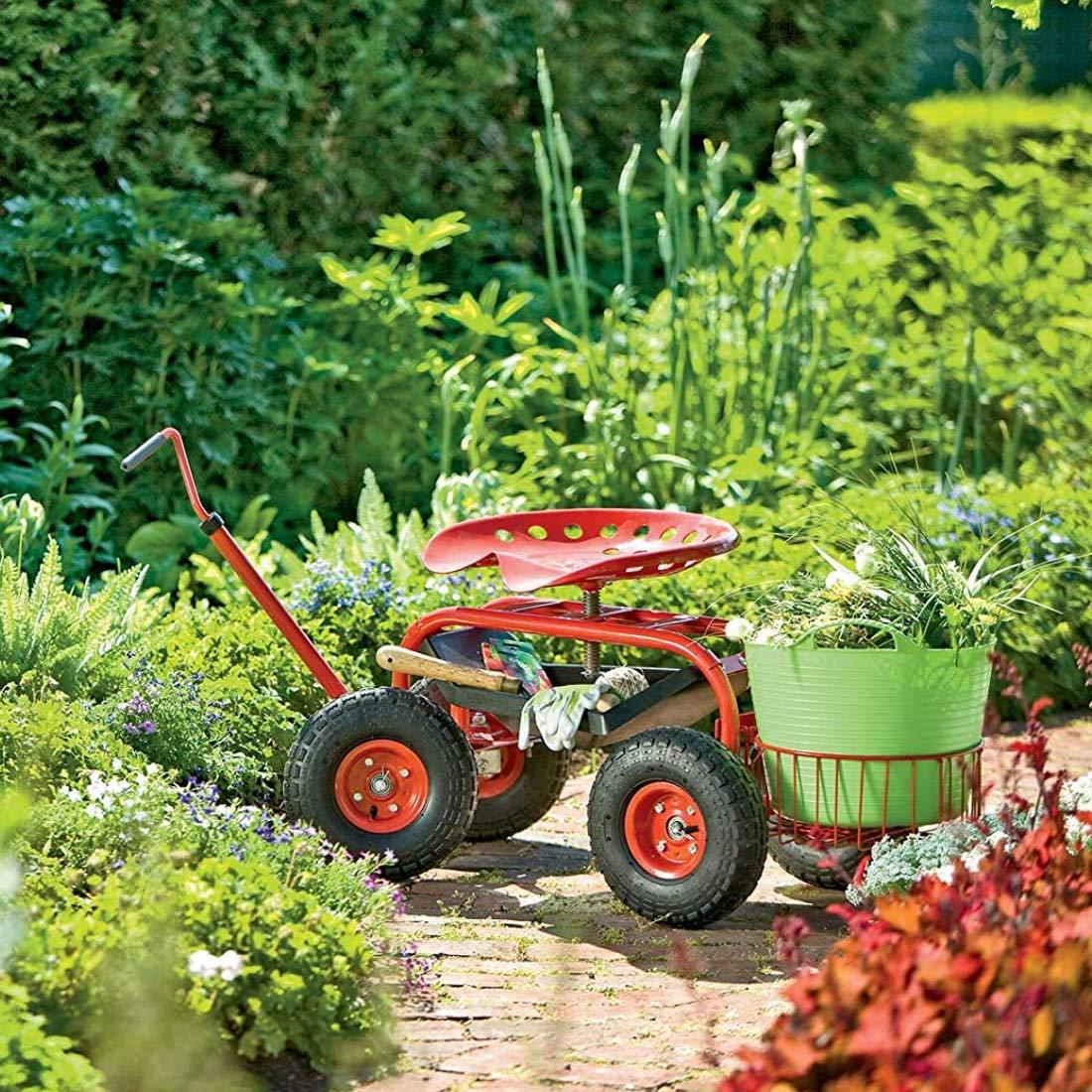 Papilioshop Gardy Carro Carrito Asiento de Trabajo con Ruedas para jardín (Rojo): Amazon.es: Jardín