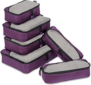 6 Set Packing Cubes Travel Luggage,Lightweight Suitcase Storage Bags Packing Organizer(Purple)