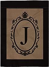 pingpi J Garden Flag Burlap Monogram Flag Double Sided 12.5