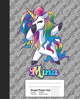 Graph Paper 5x5: MINA Unicorn Rainbow Notebook (Weezag Graph Paper 5x5 Notebook)