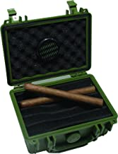 F.e.s.s. Armour Waterproof Crushproof Air tight Floats On Water Solid Green Travel Cigar Humidor Capacity 10-15 Cigars
