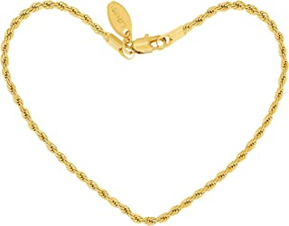 Anklets for Women Men and Teen Girls [ 2mm Rope Chain ] 24k Gold Plated Cute Durable Ankle Bracelet for Beach Party or Wedding - Lifetime Replacement Guarantee 9 10 and 11 inches