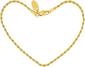 Lifetime Jewelry Anklets for Women Men and Teen Girls [ 2mm Rope Chain ] 24k Gold Plated Cute Durable Ankle Bracelet for Beach Party or Wedding - Lifetime Replacement Guarantee 9 10 and 11 inches