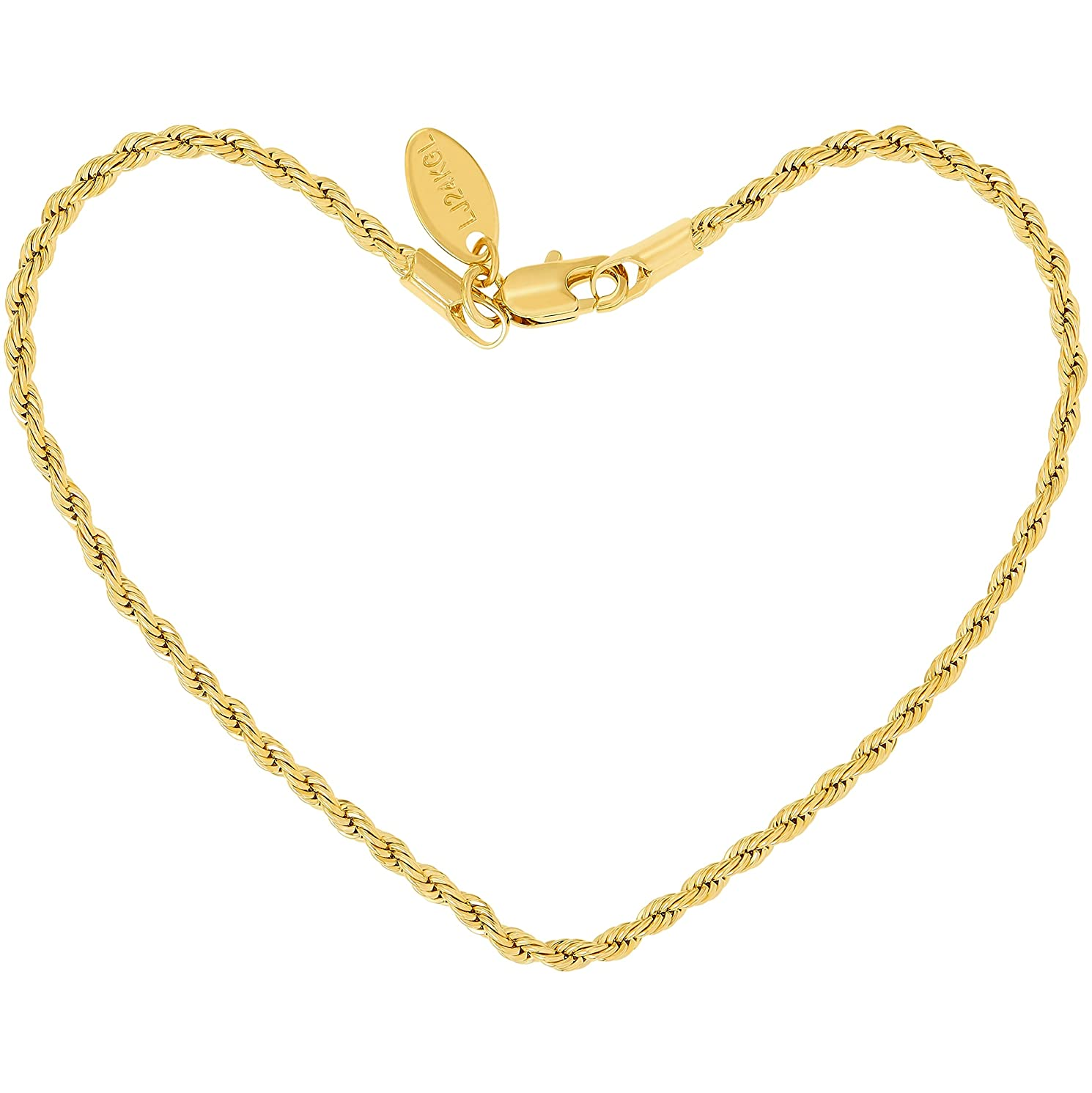 Lifetime Jewelry Anklets for Women Men and Teen Girls [ 2mm Rope Chain ] Real 24K Gold Plated Ankle Bracelet for Beach, Party or Wedding - Cute Durable Anklet - Yellow Gold 9