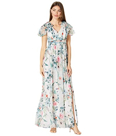 Adrianna Papell Printed Chiffon Gown with Flutter Sleeve Women