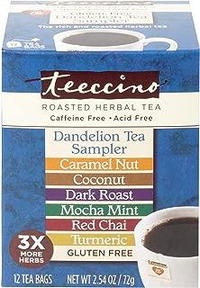 Teeccino Dandelion Roasted Herbal Tea Sampler Pack (Caramel Nut, Coconut, Dark Roast, Mocha Mint, Red Chai, Turmeric), Caffeine Free, Gluten Free, Acid Free, Coffee Substitute, Prebiotic, 12 Tea Bags
