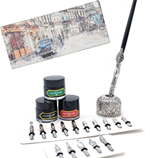 GC QUILL Calligraphy Pen Set, Wooden Dip Pen with 16 Dip Nibs, 3 Ink Bottles and 1 Pen Holder, Calligraphy Set for Beginners - MU-04