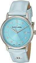 Maurice Lacroix Women's Eliros Stainless Steel Swiss-Quartz Watch with Leather Calfskin Strap, Blue, 15.5 (Model: EL1094-SS001-550-1)