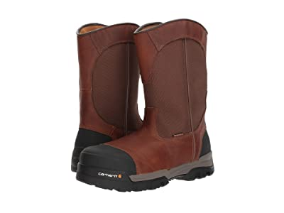 Carhartt 10 Waterproof Comp Toe Pull-On Work Boot (Brown Leather) Men