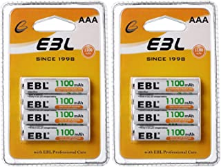 EBL AAA Rechargeable Batteries 1100mAh Ready2Charge Triple A NiMH Battery, Retail Pacakge - 8 Packs