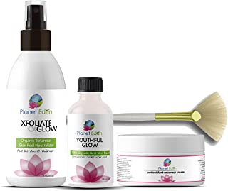 Planet Eden 70% Glycolic Acid Chemical Skin Peel Kit + Organic Botanical Peel Neutralizer and 1 oz Antioxidant Recovery Cream + Treatment Fan Brush