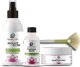 Planet Eden 70% Glycolic Acid Chemical Skin Peel Kit + Organic Botanical Peel Neutralizer and 1 oz Antioxidant Recovery Cream + Treatment Fan Brush