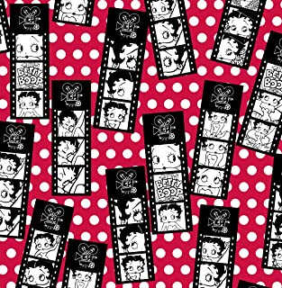 Betty Boop Film Strip Tossed on Red Flannel Fabric-Officially Licensed (Great for Quilting, Sewing, Craft Projects, Quilt, Blanket & More) 1/2 Yard