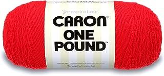 Caron  One Pound Solids Yarn - (4) Medium Gauge 100% Acrylic - 16 oz -  Scarlet- For Crochet, Knitting & Crafting