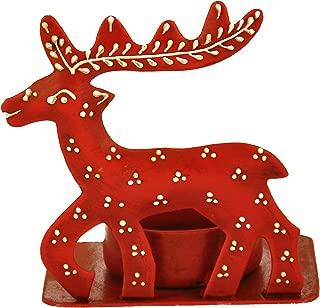 SmartHUG Iron Reindeer Tealight Candle Holder, Red