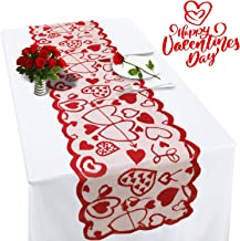 Valentines Table Runner Red Heart Print Valentines Day Decorations 13x72 inches Lace Love Table Runner for Home Wedding Party/St Patrick's Day/Mother's Day/Valentines Day Table Decorations