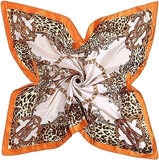 Xxadliy Leopard Chain Color Satin Print Large Square Scarf Silk Scarf 90 * 90cm (Color : Orange, Size : 90 * 90cm)