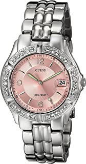 GUESS  Pink + Silver-Tone Bracelet Watch with Date Feature. Color: Silver-Tone (Model: G75791M)