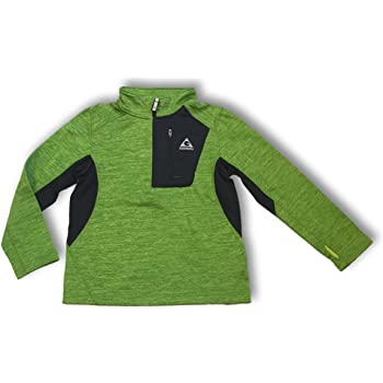 Gerry Kids Youth Boys Quarter Zip Lightweight Athletic Fleece Lined Sweatshirt Jacket (Small (7/8), Algae Green Heather/Black)