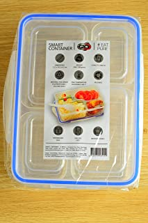 P N Smart Food Meal Prep Box Container Storage Plastic Bento Lunch Box Microwave Freezer Dishwasher Safe Leakproof Lids BPA Free Reusable Stackable Portion Control 1000ml 4 Compartments