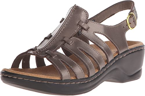 Clarks Wohommes Lexi Marior Q Pewter Leather Sandal Sandal 10 EE - Extra Wide