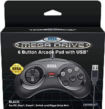 Retro-Bit Official SEGA Mega Drive USB 6-Button Controller for MEGA DRIVE MINI CONSOLE, PC, Switch, Mac, Steam, RetroPie, Raspberry Pi - Black (Nintendo Switch///)