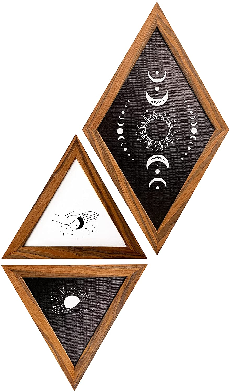 Mid Century Modern Decor Framed Wall Art for Bedroom , Minimalist Boho Wall Decorations for Living Room ,Set Of 3 Black and White Sun and Moon Wall Decor, Abstract Boho aesthetic wall decor