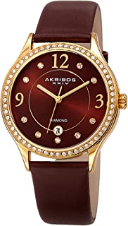 Akribos Swarovski Crystal Women's Watch - Diamond Markers On A Sunray Dial - Genuine Leather Strap Watch - AK1011