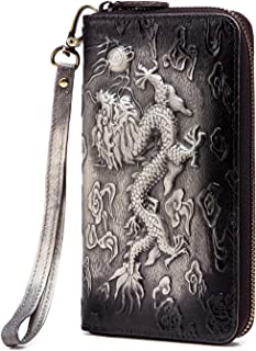 Le'aokuu Mens Genuine Leather Bifold Wallet Purse Organizer Crocodile Embossed