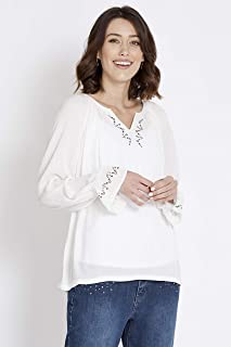 Rockmans Long Sleeve Embelished Top Warm White 20 - Womens