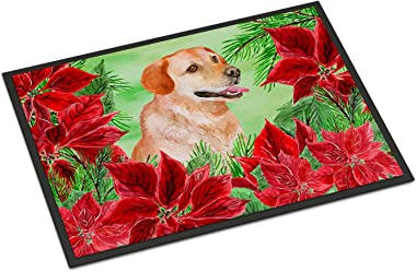 Caroline's Treasures Labrador Retriever Poinsettias Doormat-Parent, Multicolor, 18H X 27W
