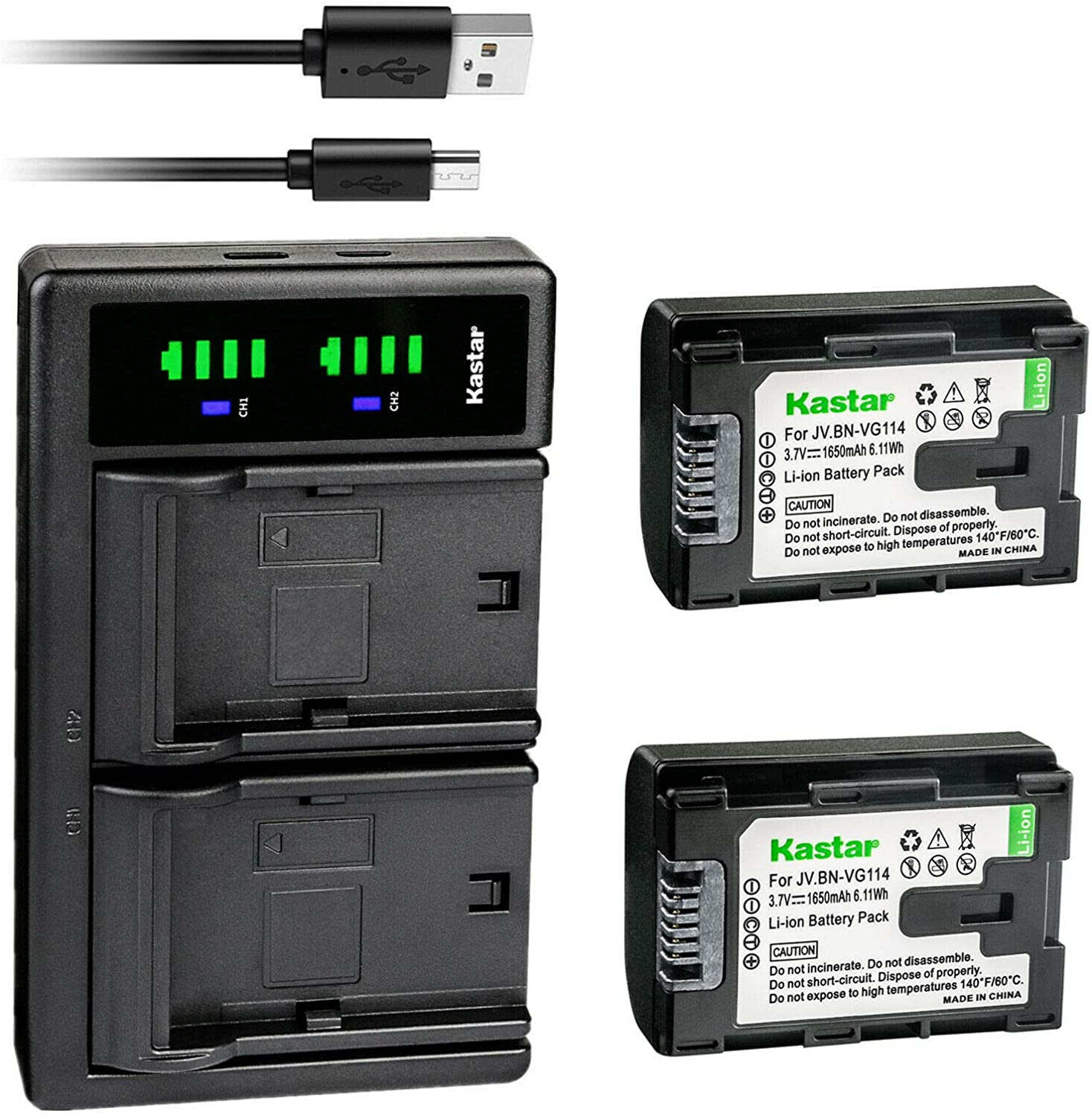 Fees free!! Kastar 2-Pack Battery and LTD2 USB JVC Charger B Replacement for Outlet SALE