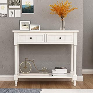 Pine Wood Media Console Table for Entryway Hallway, with Drawers and Shelf, Antique White